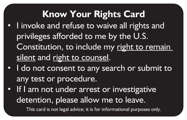 Know Your Rights Card (Front)